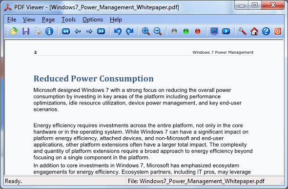 A light-weight yet powerful PDF Viewer to open and read PDF files on Windows 7